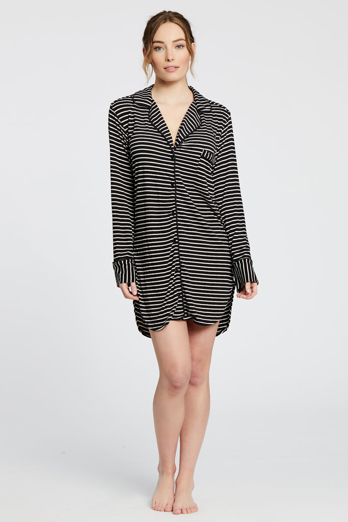 Augustine Shirt Dress- Black/White Stripe