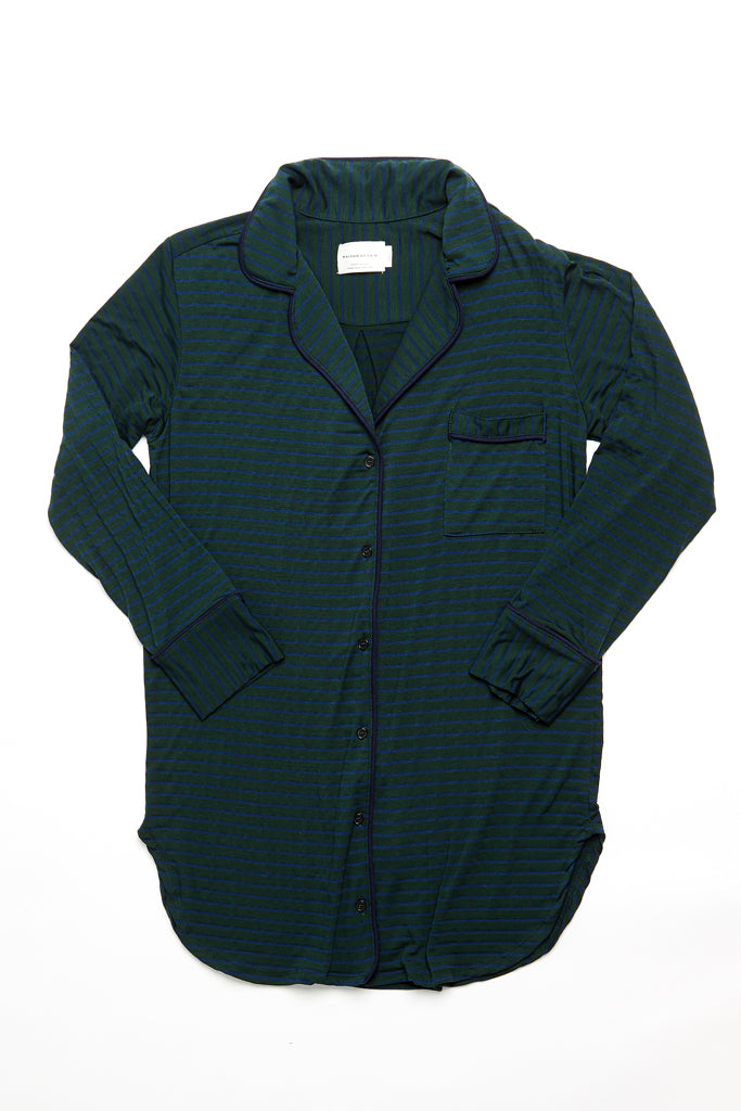 Augustine Shirt Dress- Dark Green/Navy Stripe
