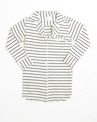 Augustine Shirt Dress- Ivory/Black Stripe