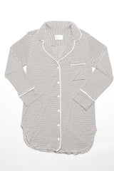 Augustine Shirt Dress- Off-White/Chocolate Stripe