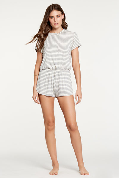 Charlotte Romper - Heather Grey Stripe