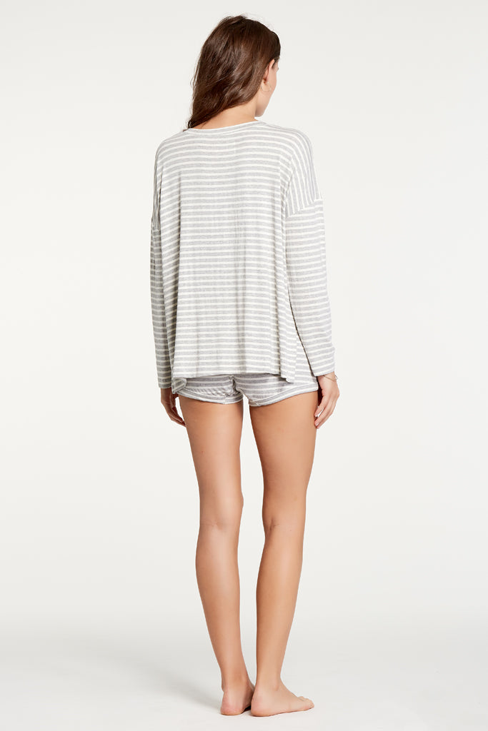 Courtney Top - Heather Grey Stripe