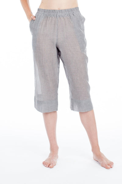 Capri Bottoms - Grey Pinstripe