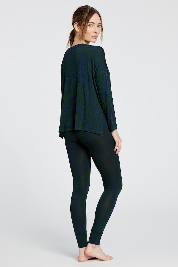 Courtney Top - Dark Green/Navy Stripe