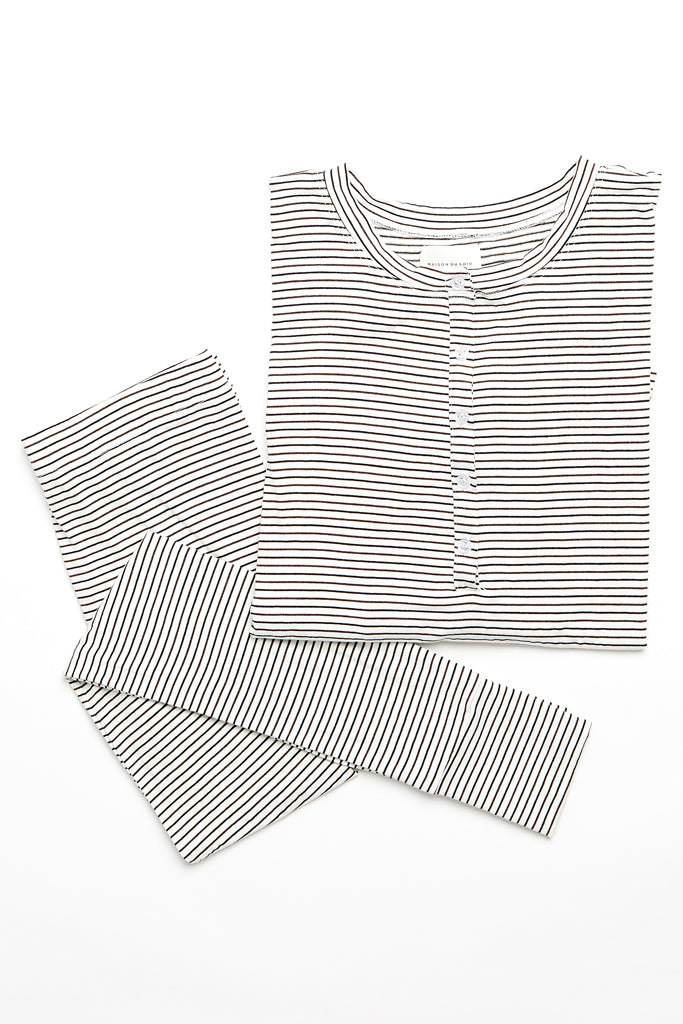 Courtney Top - Off-White/Chocolate Stripe