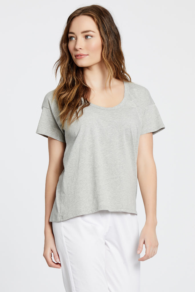 Drop Neck Top - Heather Grey