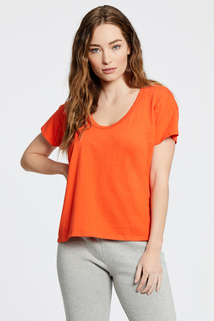 Drop Neck Top - Orange/Red
