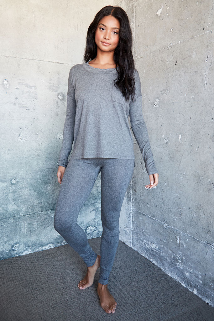 Edith Top - Med Heather Grey