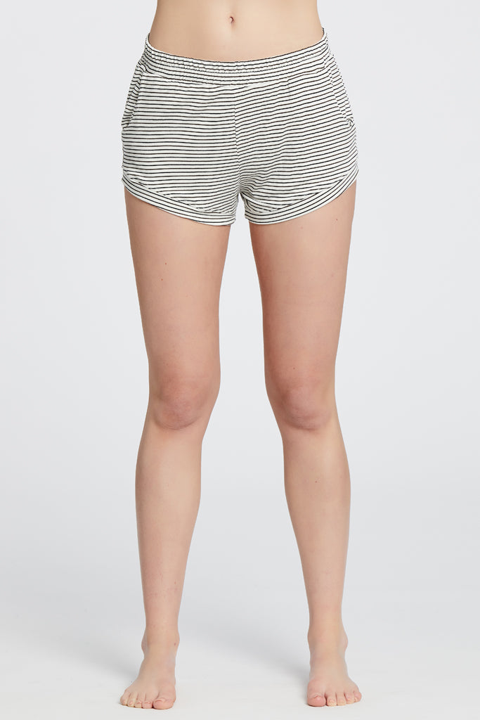 Elody Short - Off-White/Chocolate Stripe