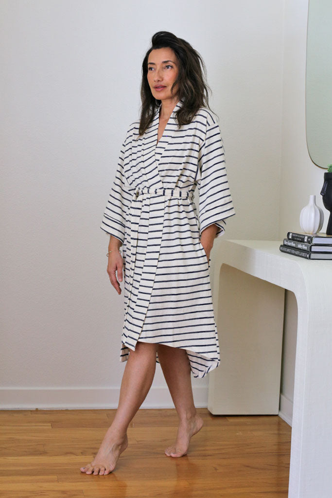 Florence Robe - Navy Smash Stripe