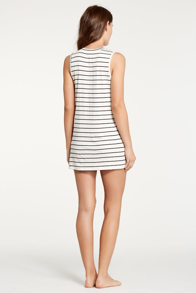 Harper Dress - Ivory/Black Stripe