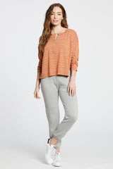 The Henley Top - Red/Nude Stripe