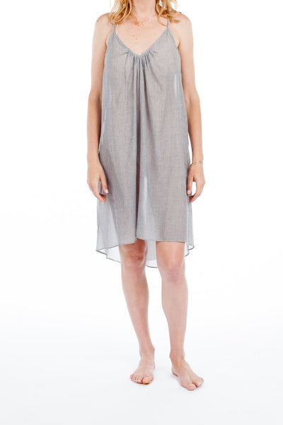 Ibiza Dress - Grey Pinstripe