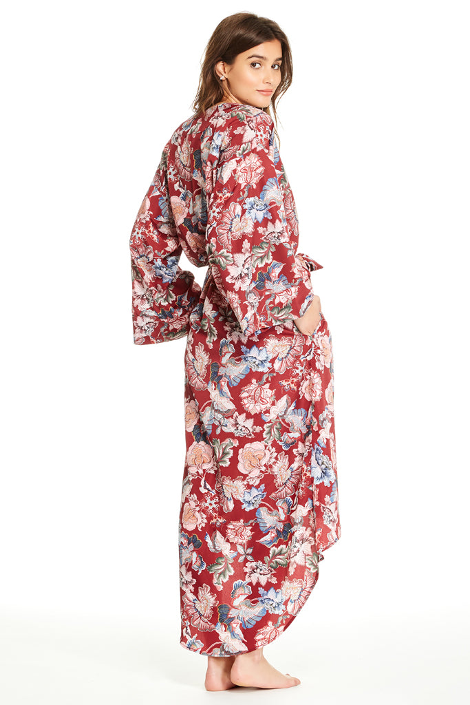 Isabella Robe - Brick Red Floral