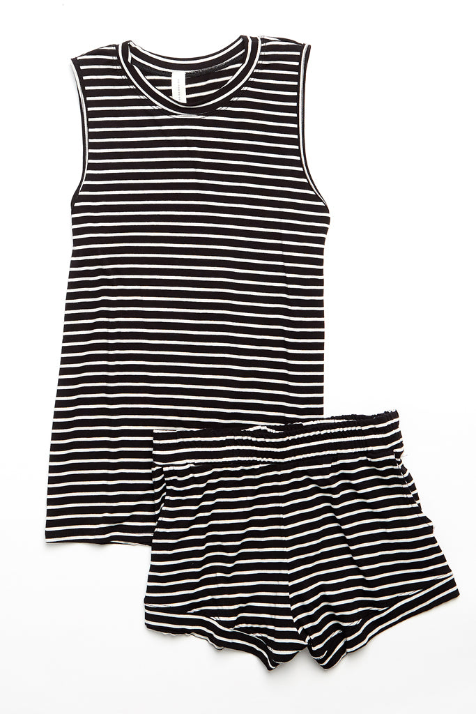 Elody Short - Black/White Stripe