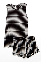 Jasper Tank - Black/White Stripe