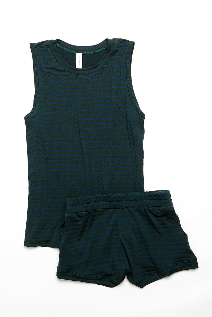 Jasper Tank - Dark Green/Navy Stripe