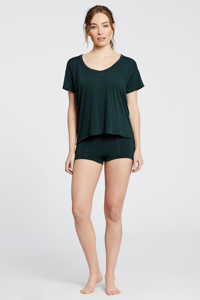 Kira Top - Dark Green/Navy Stripe