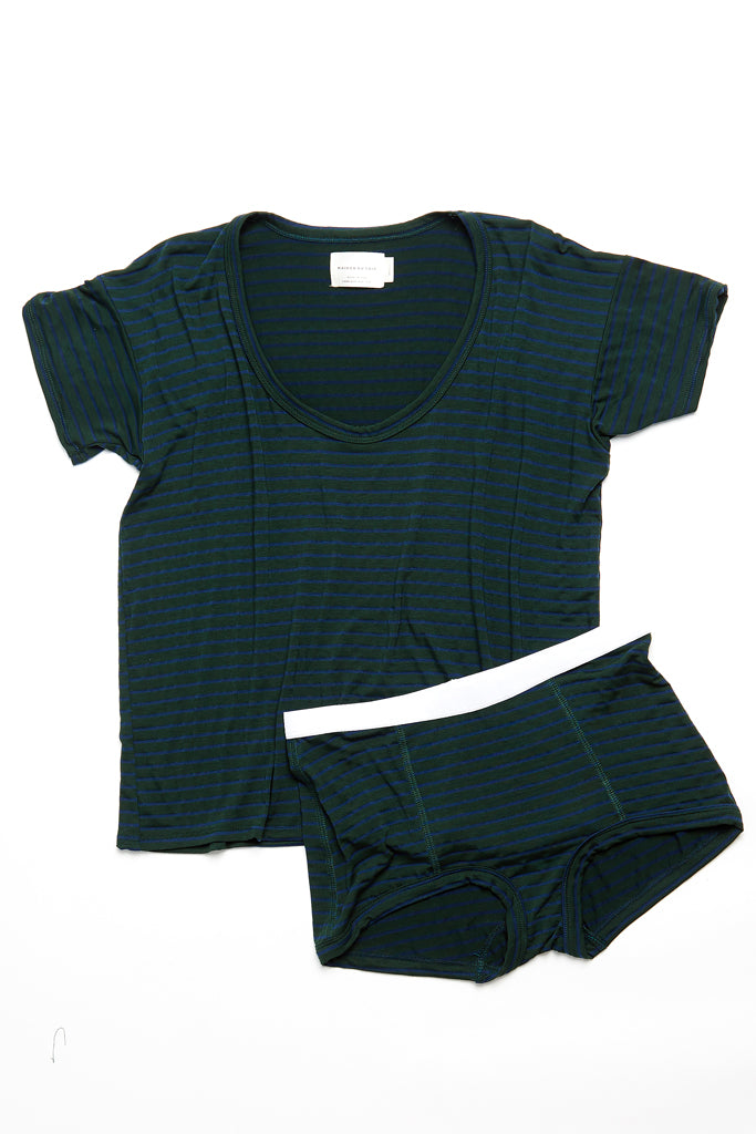 Peony Short - Dark Green/Navy Stripe