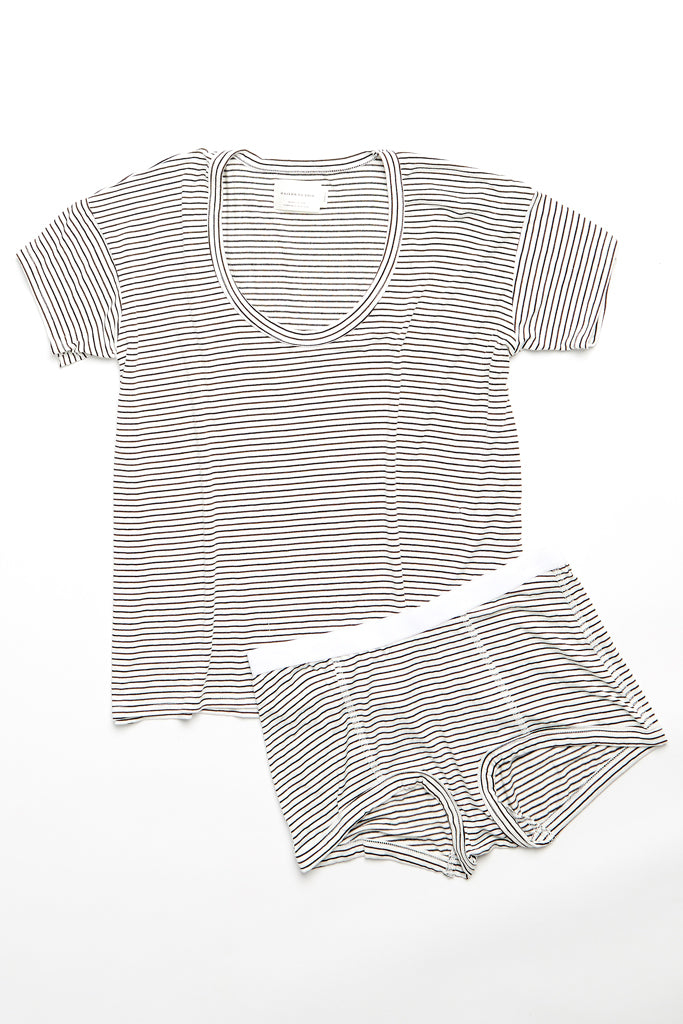 Kira Top - Off-White/Chocolate Stripe