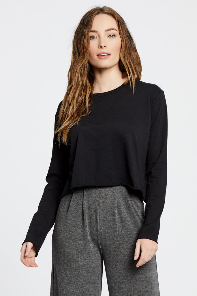 Cropped Long Sleeve Top - Black