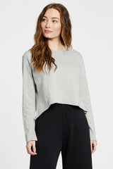 Cropped Long Sleeve Top - Heather Grey