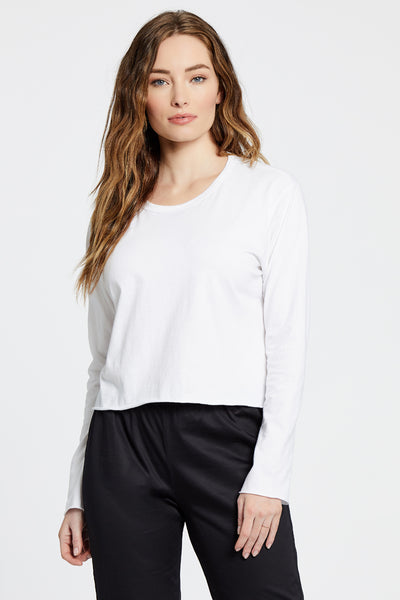 Cropped Long Sleeve Top - White