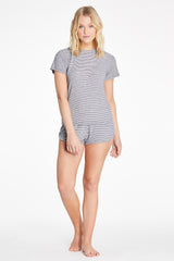 Luca Top - Navy Stripe Rib