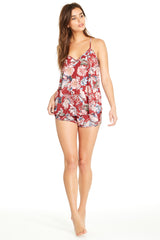 Lola Short - Brick Red Floral