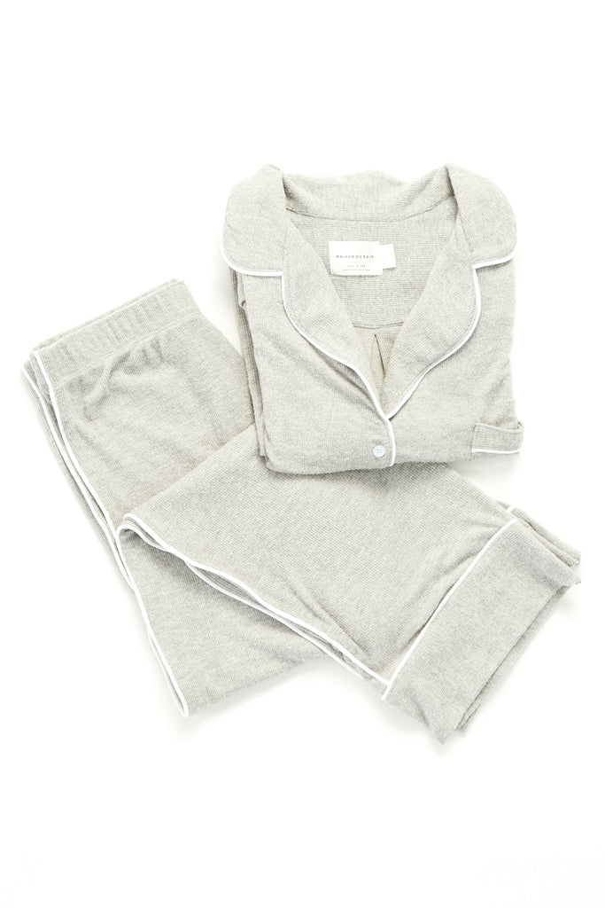 Monaco Set - Heather Grey Rib