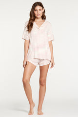 Monaco Short-Sleeve Set - Rose Stripe