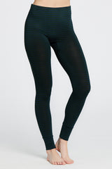 Madrid Legging - Dark Green/Navy Stripe