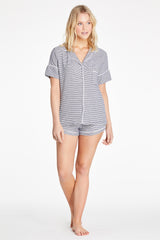 Monaco Short-Sleeve Set - Navy Stripe Rib