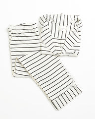 Monaco Set - Ivory/Black Stripe