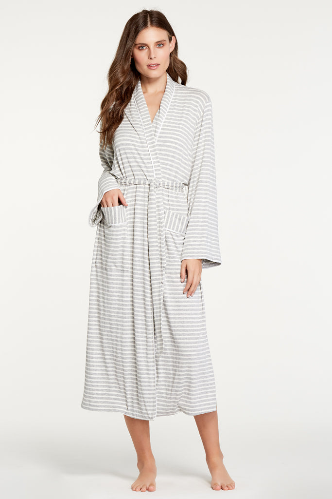Palermo Robe - Heather Grey Stripe