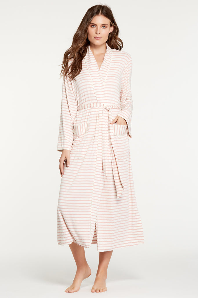 Palermo Robe - Rose Stripe