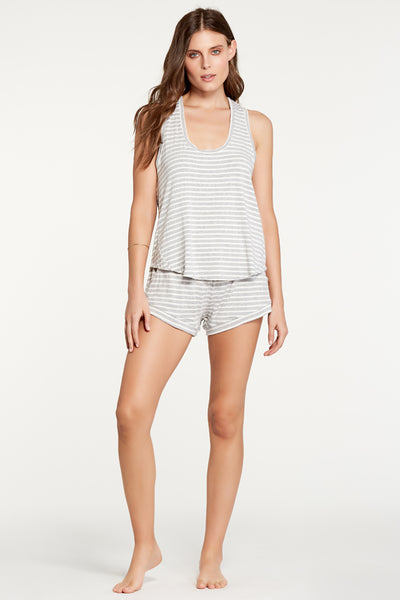Petty Tank - Heather Grey Stripe