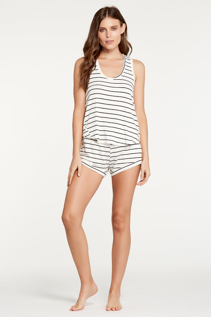Petty Tank - Ivory/Black Stripe