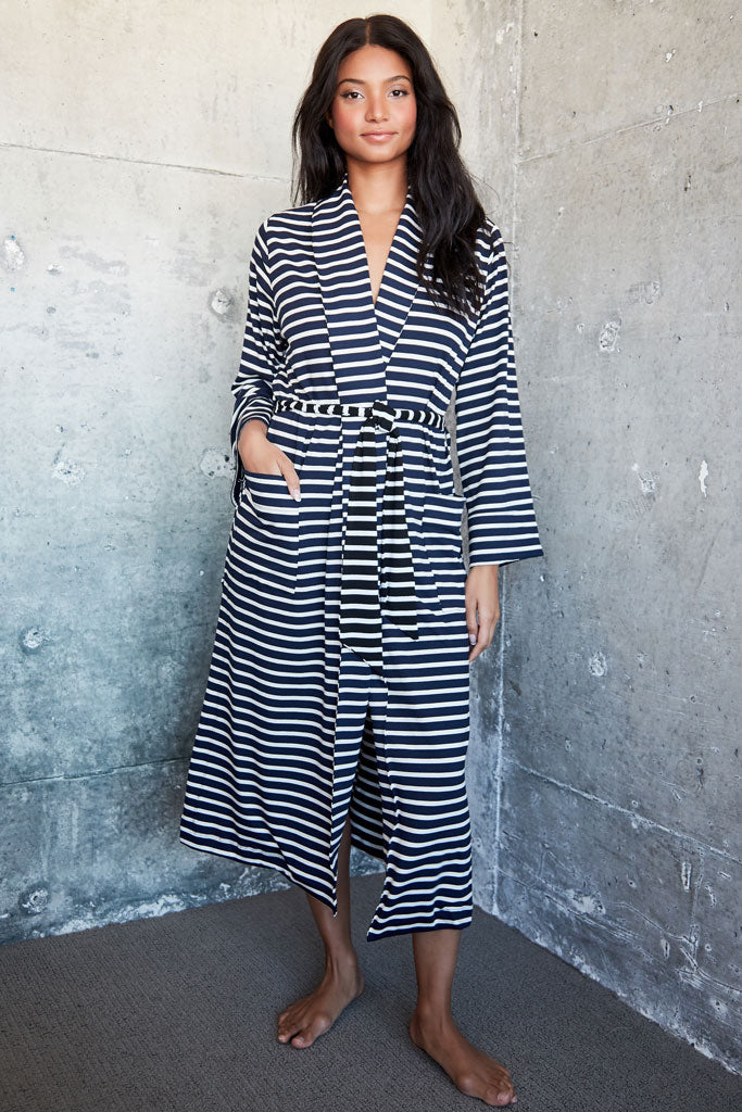 Palermo Robe - Navy Stripe