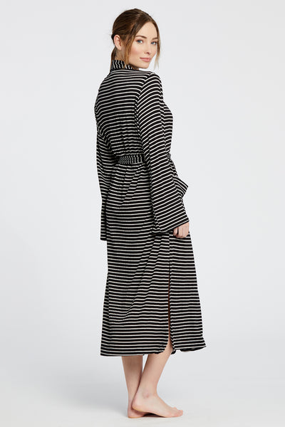 Palermo Robe - Black/White Stripe