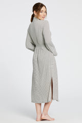 Palermo Robe - Off-White/Chocolate Stripe