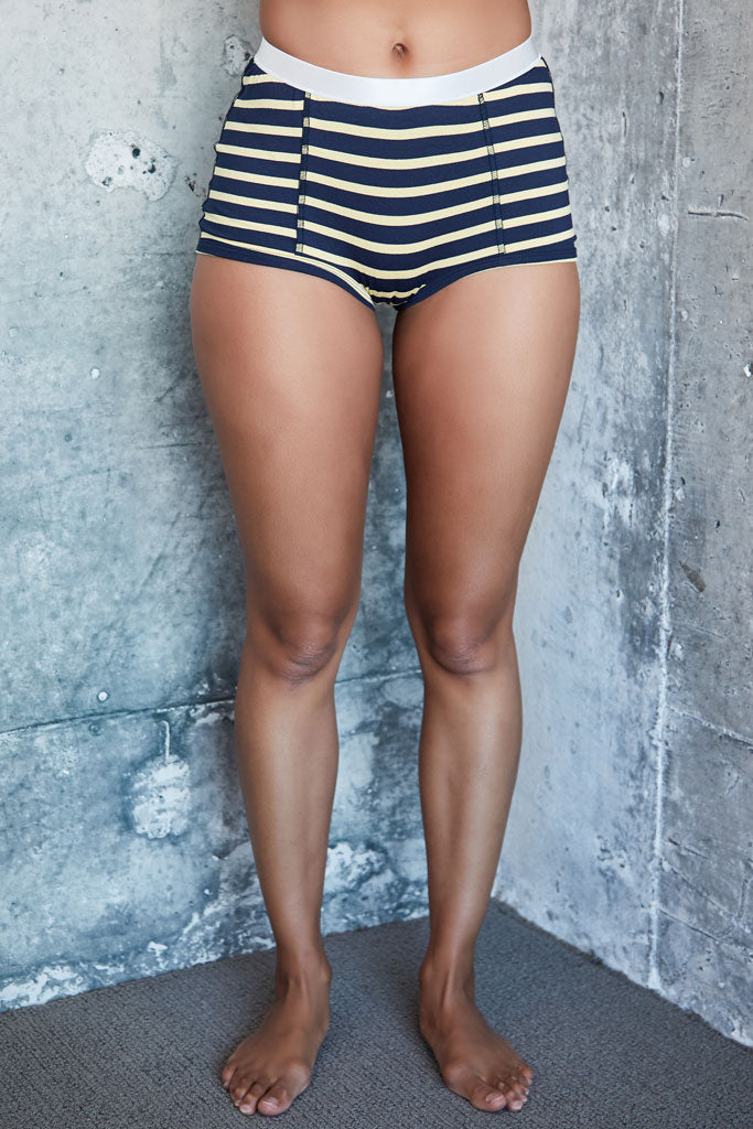Peony Short - Navy/Yellow Stripe