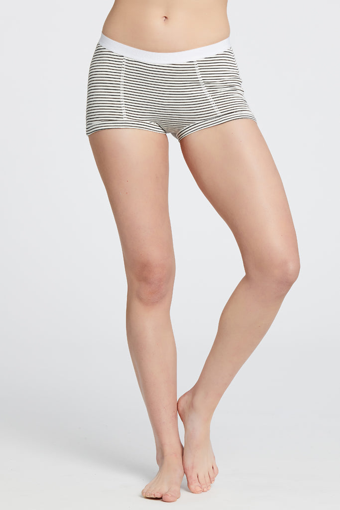 Peony Short - Off-White/Chocolate Stripe