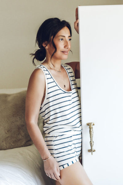 Petty Tank - Navy Smash Stripe