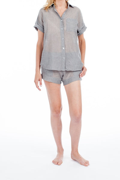 Portofino Top - Grey Pinstripe