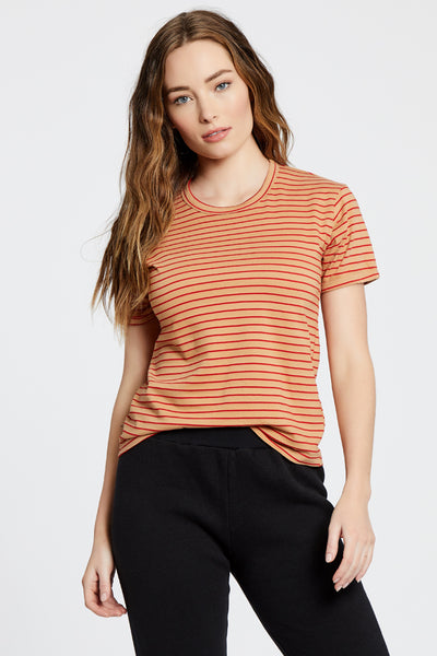 Ringer Top - Red/Nude Stripe