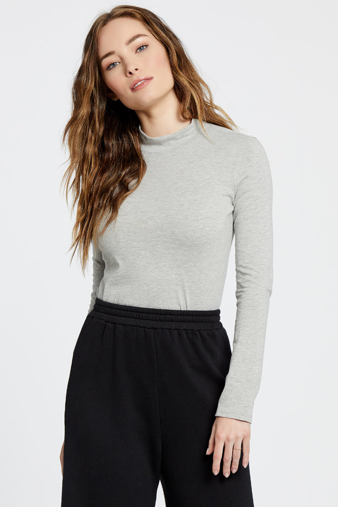 Turtle Neck Top - Heather Grey