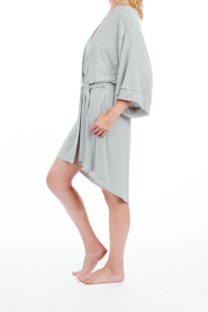 Florence Robe - White/Black Stripe