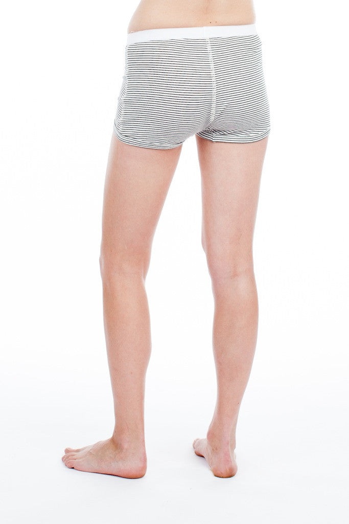 Peony Short - White/Black Stripe