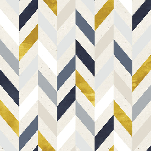 Blue & Gold Herringbone Photo Backdrop